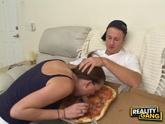 Cock hungry Victoria Vonn deliciously stuffs her mouth with a man meat sausage