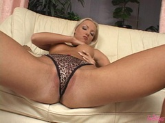 White chick Veronika Simon can't wait enough to play hot with her snatch alone