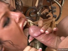 Hot and wild Sadie West receives a hot amount of cock cream on her sweet mouth