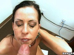 Alluring whore Larissa Dee gets a warm splash of cock cream on her sexy face