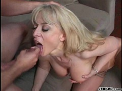 Cum lover Nina Hartley gets her mouth cummed after a nice one on one action