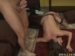 Scorching hot star Madelyn Marie getting jizzed on her mouth after a hot fuck