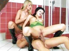 Claudia Adams gets a good pussy ramming as friend sucks tits