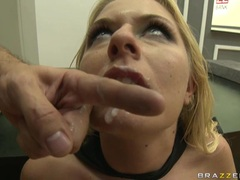 Cum crazy whore Riley Evans gets creamed on her mouth after a nice hot fuck