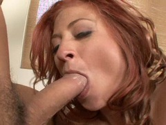 horny redheaded Lucky Benton gets her mouth ripped with a massively stiff cock