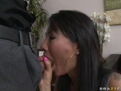 Sex bombshell Asa Akira enjoys a meaty long cock screwing in her juicy mouth
