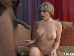 Lusty blonde Velicity Von takes a monster cock in her mouth and loves it
