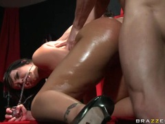 Naked hottie Emma Heart gets attacked by a monster beaver on her tight ass