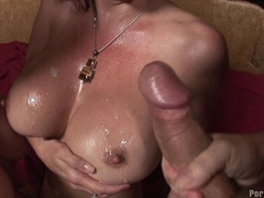 Tittilating hot bitch Sophie Dee and friend gets glazed with cum on their boobs
