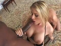 Pornstar Daphne Rosen enjoying a monstrous dark dick entering her filthy mouth