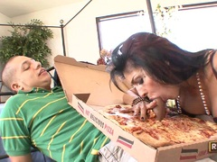 Tittilating Persia Pele enjoys an extra ordinary topping on her fucking pizza