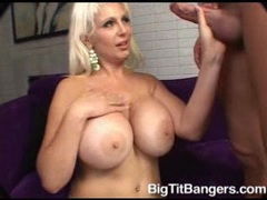 Horny blonde momma Kayla Kupcakes receives a spurt of creamy jizz on her mouth