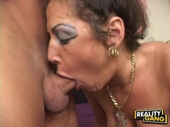 Hor milf Anjelica Lauren munches a massive cock in her mouth with pleasure