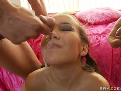Juicy young bitch Amai Liu receives a loadful of cum sprayed on her face