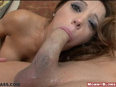 Lovely momma Francesca Le working on her lover's cock until it blasts it's cum
