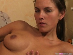 bitchy babe Zuzana P drills her tight hot snatch with her favorite dildo