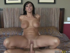 Sexy naked slut Veronica Rayne slams her tight pussy on a massive huge dick