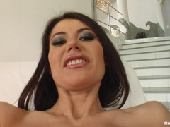 Alluringly hot milf Eva Karera takes one cock at a time in her juicy mouth