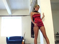 Hot busty babe Raylene Richards gets so hot to handle for some solo playing