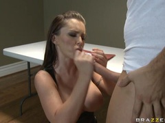 Bitchy alluring Jenna Presley receives a hot splash of cum on her juicy mouth