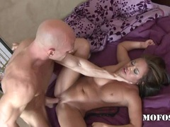 Sexy naked honey Mia Lelani enjoys a nice ram on her tight shaved snatch