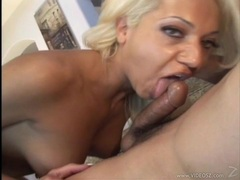 Donna Doll deep throats a huge cock then takes a cream pie all over her pussy