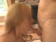 Horny blonde bitch Trina Michaels hooks her sweet mouth on a thick hard cock