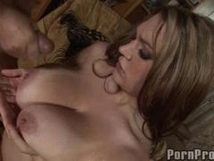 Busty pornstar Cassandra Calogera gets her meaty huge melons creamed with cum