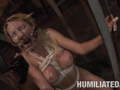 Cum freak Missy Woods receives a strong blast of cock fudge on her sweet face