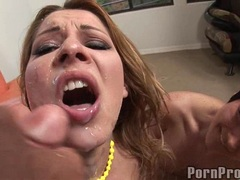 Cum loving Cindy Hope receives a loadful of jizz on her filthy sweet mouth