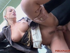 Lovely blondie Cindy Dollar gets awesomely fucked by her man outdoor