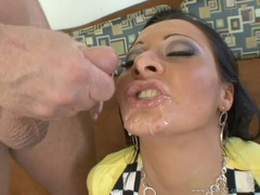 Sandra Romain gets a double helping of hard cock then a face full of jizz