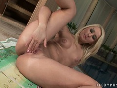 Horny blonde babe Blonde Cat eagerly inserting her fingers in her warm pussy