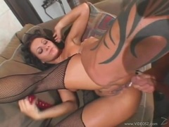Wild whore Sandra Romain gets double stuffed with a cock and a toy in her holes