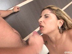 Lusty sweet Anita Ferrari gets jizzed on her face after a horny wild one on one