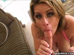 Blondie hot Lisa Sparxxx eagerly takes a massive cock in her slippery mouth