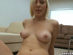 Smoothly shaved Lily Luvs slams her tight sweet snatch on a cock until it blows