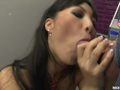 Lovely asian honey Asa Akira stuffs her mouth with a thick shaft and enjoys it