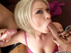 Cock slobber Alma Delux loves to suck on two haed beef pipes
