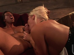Horny blonde Crista Moore rips her mouth with a huge dick and loves it