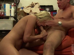 Hot babe Stormy Waters enjoys a hard cock entering her sweetie warm mouth