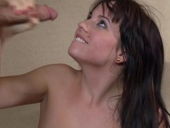 Cum loving honey Mindy Lynn gets cummed on her mouth like she always wanted