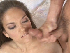 Sensual cum lover Leilani Love gets her face creamed after a horny one on one