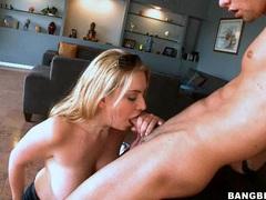 Blonde honey Kalie West pleasures a meaty pole in her slippery hot mouth