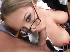 Naughty teacher Jessica Moore taked two cocks in her mouth