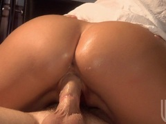 Bootylicious Jessica Drake bounces her tight twat on a rock hard cock in bed