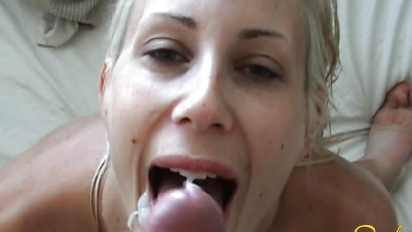Cum loving Puma Swede gets her mouth messed up with cock ...