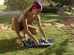 Blonde nympho Blue Angel gets too hot to handle naked outdoor and loves it