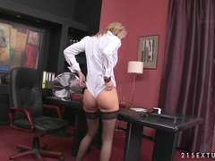 Sexy office girl Regina Ice gets too hot to handle in her office and loves it