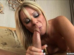 Cock loving whore Ahryan Astyn munches a massive cock with pleasure